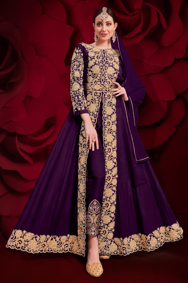 Sangeet Wear Purple Georgette Fabric Embroidered Long Length Anarkali Suit