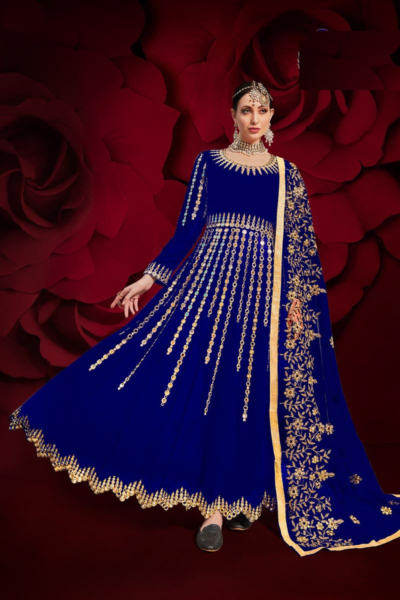 Georgette Fabric Sangeet Wear Blue Long Length Embroidered Anarkali Suit