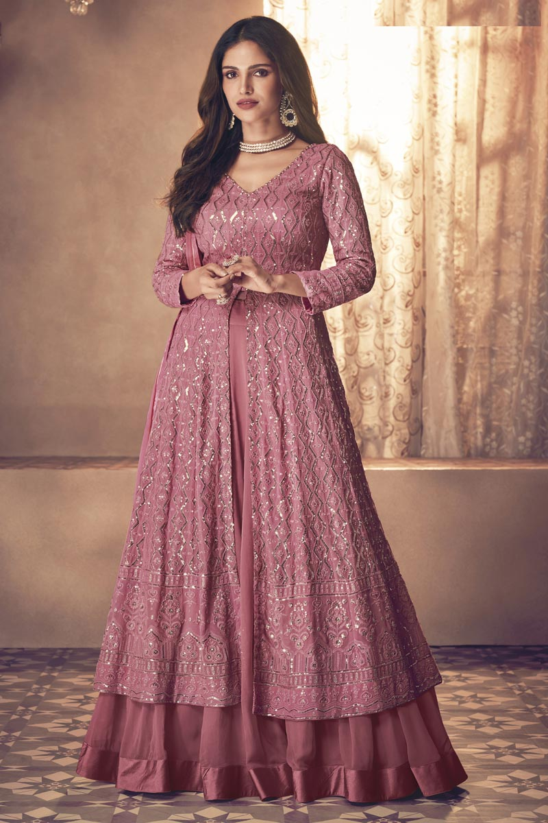 Georgette Fabric Party Style Pink Color Embroidered Anarkali Salwar Suit
