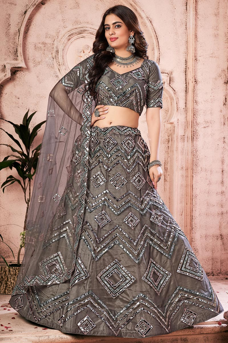 Dark Beige Color Fancy Work Wedding Wear Lehenga Choli In Net Fabric