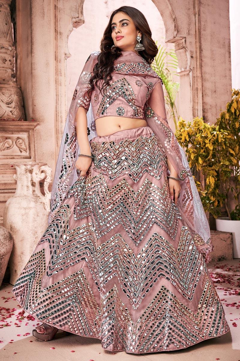 Wedding Wear Net Fabric Fancy Work Lehenga Choli In Pink Color