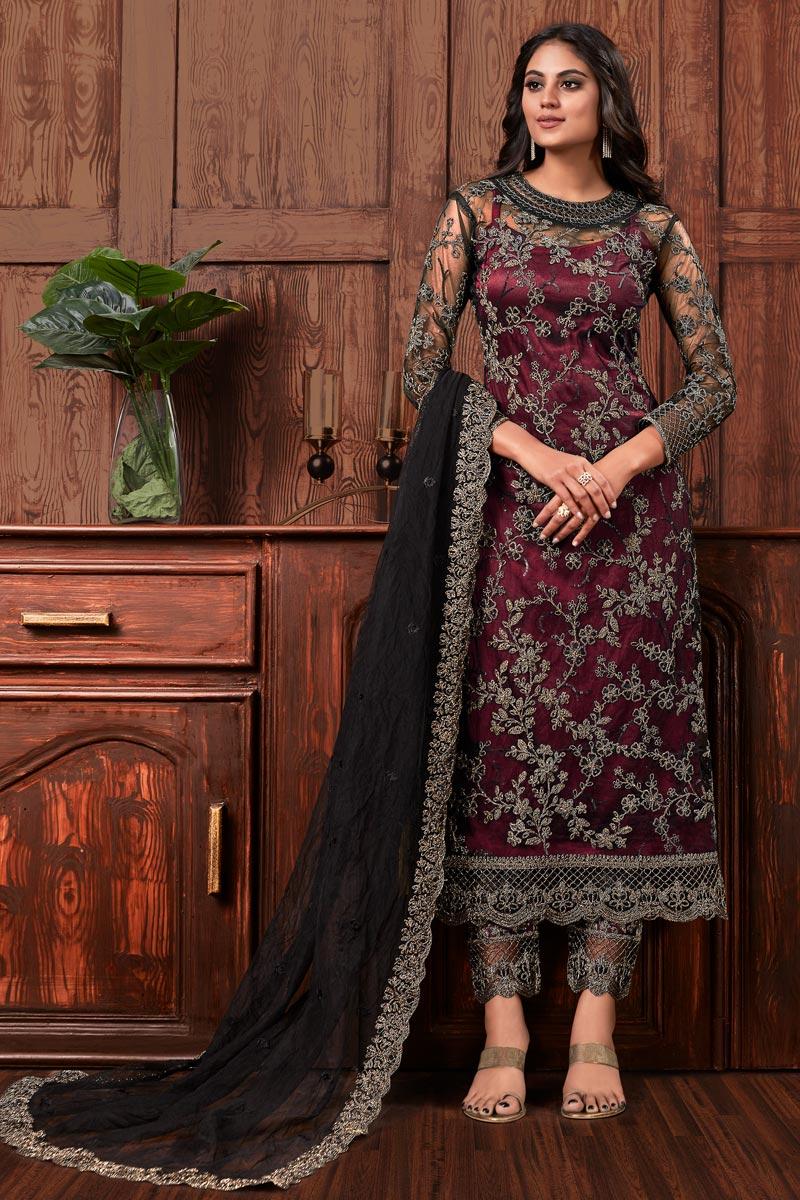 Festive Wear Salwar Suit In Maroon Color Net Fabric