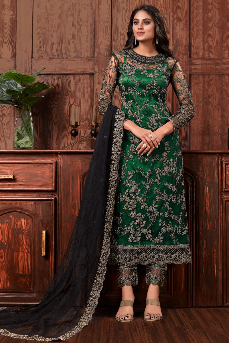 Embroidery Designs Net Fabric Party Wear Suit In Dark Green Color