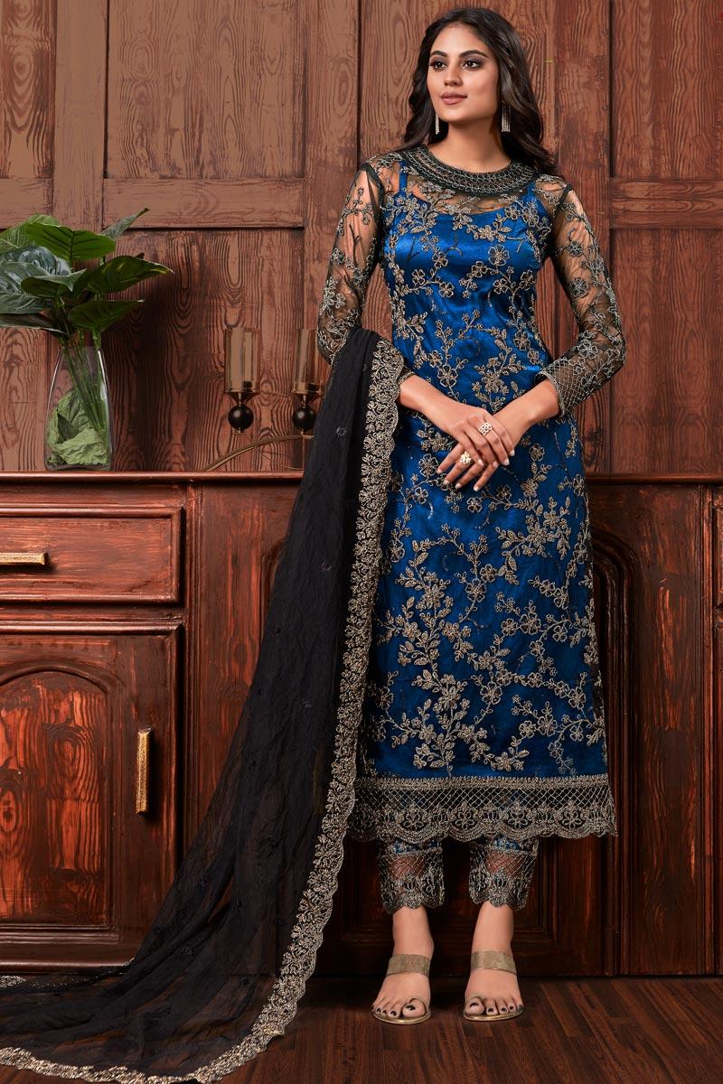 Blue Color Embroidered Salwar Kameez In Net Fabric