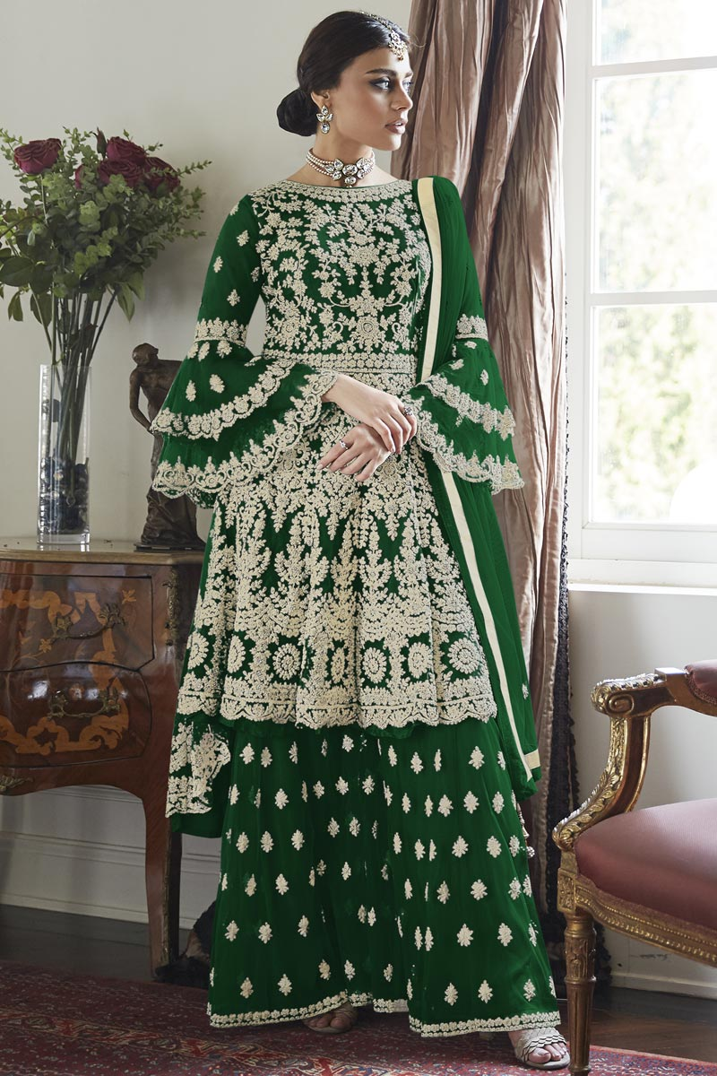 Green Color Function Wear Embroidered Net Fabric Sharara Suit