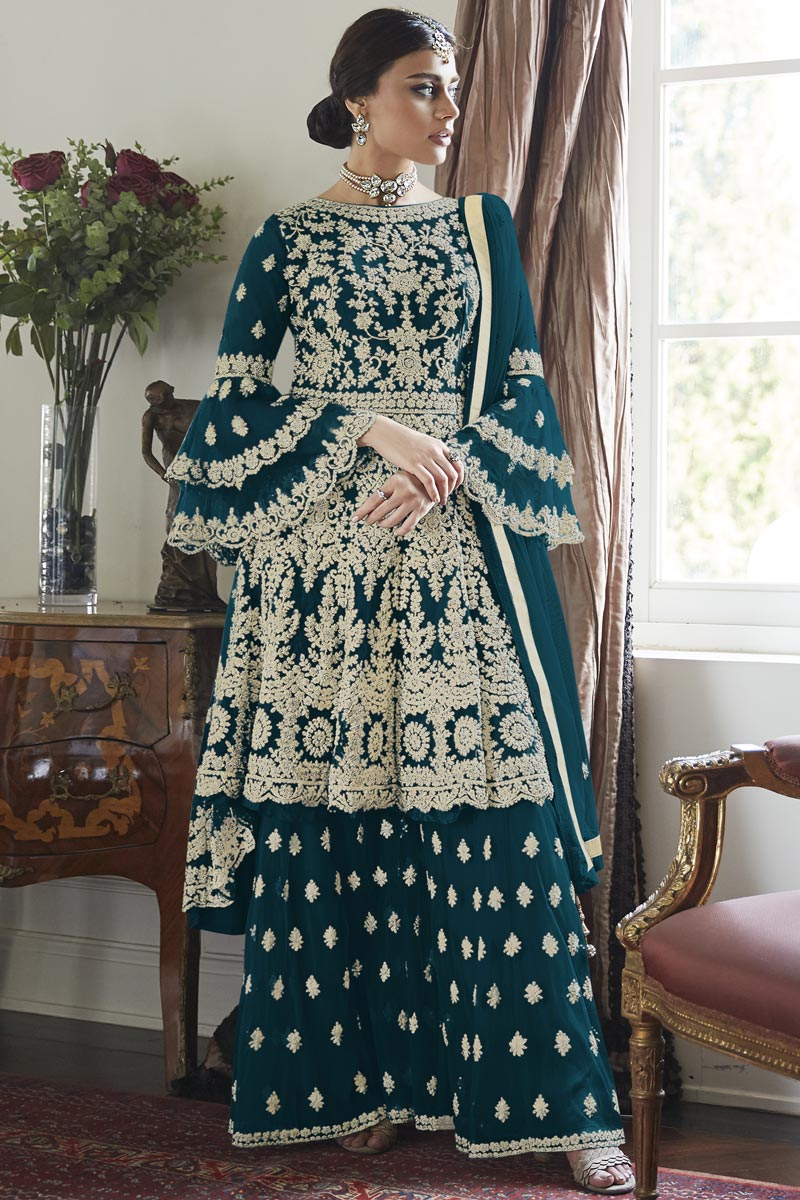 Net Fabric Party Wear Teal Color Embroidered Sharara Suit
