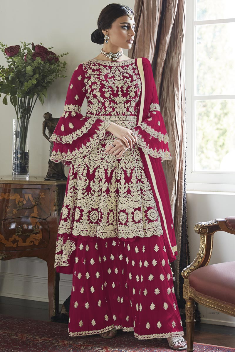 Rani Color Net Fabric Sangeet Wear Embroidered Sharara Suit