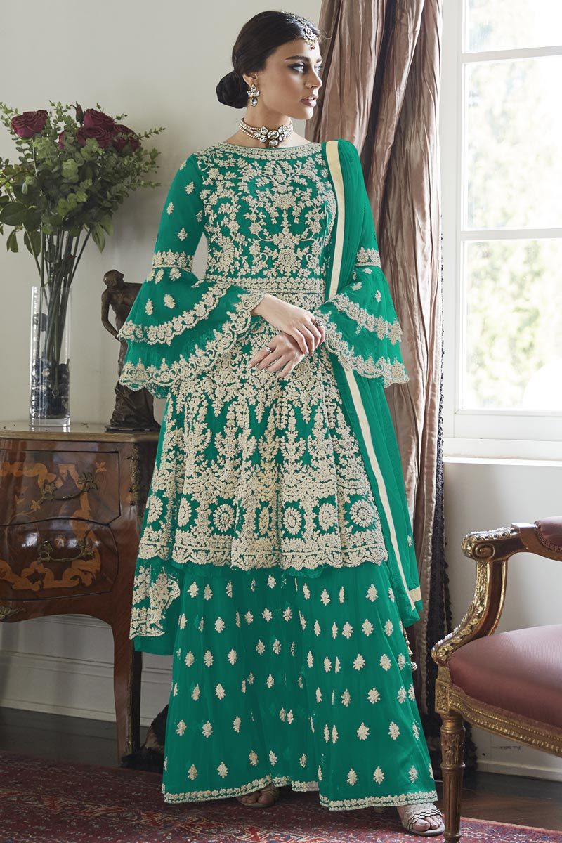 Net Fabric Wedding Wear Embroidered Sharara Suit In Cyan Color