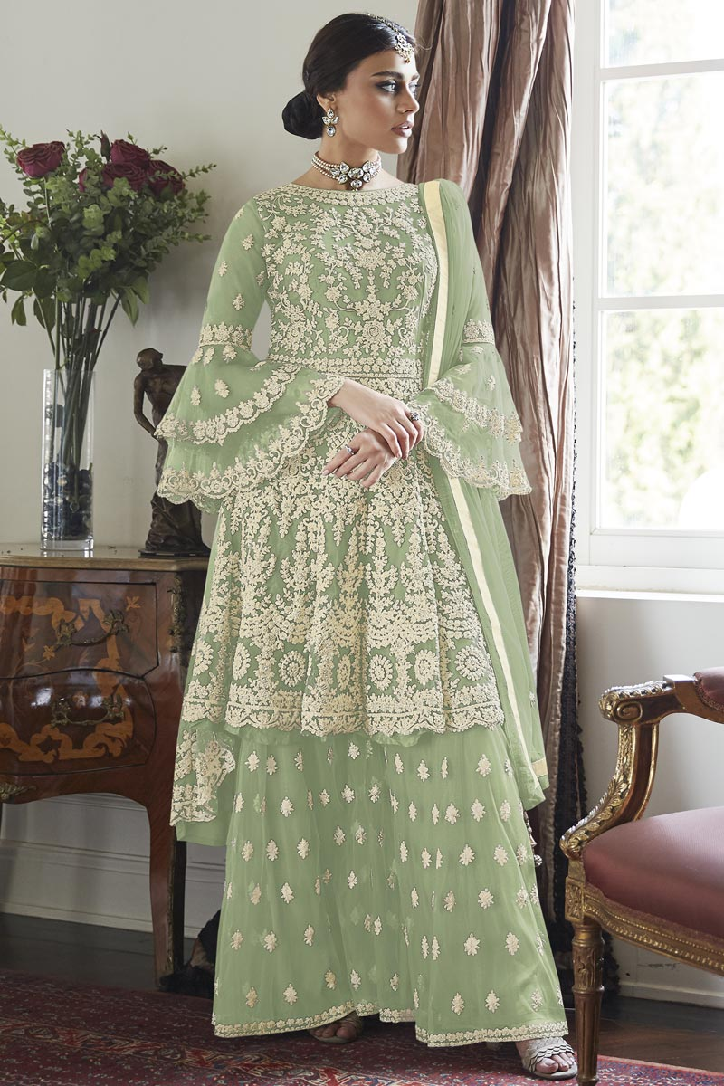 Reception Wear Net Fabric Sea Green Color Embroidered Sharara Suit