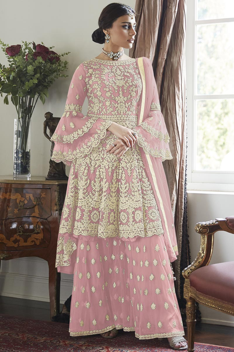 Net Fabric Festive Wear Embroidered Pink Color Sharara Suit