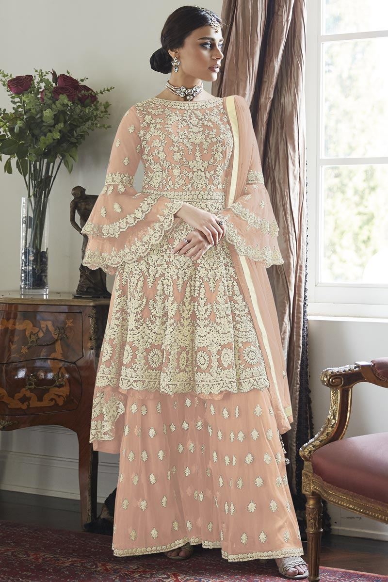 Net Fabric Function Wear Embroidered Peach Color Sharara Suit