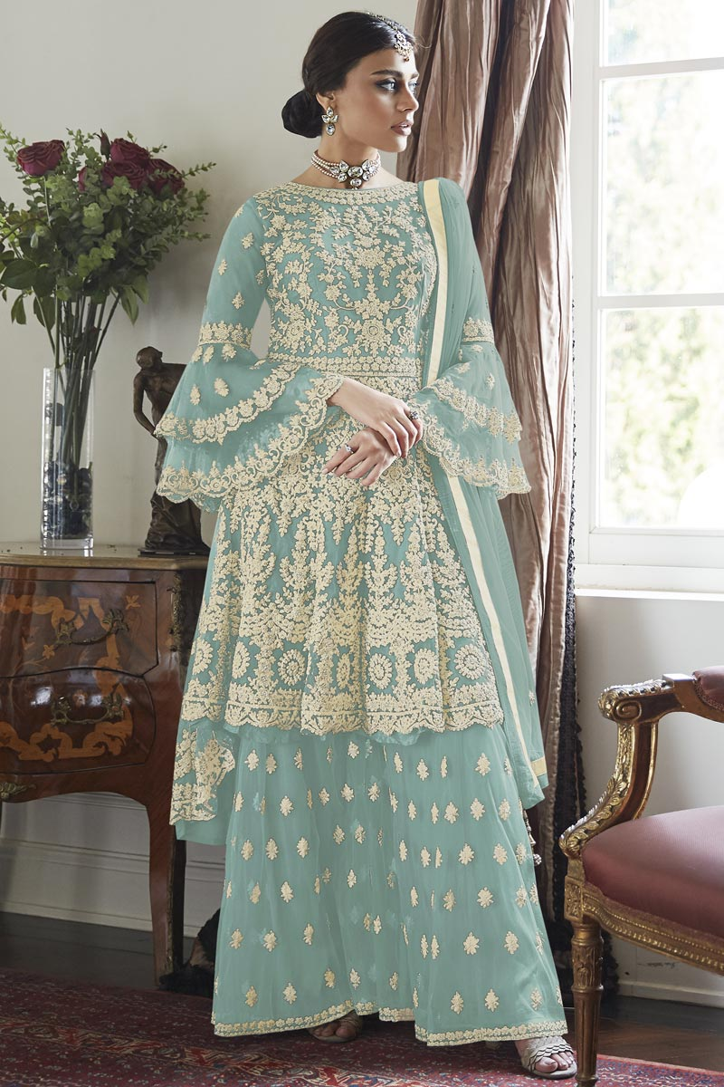 Party Style Net Fabric Light Cyan Color Embroidered Sharara Suit