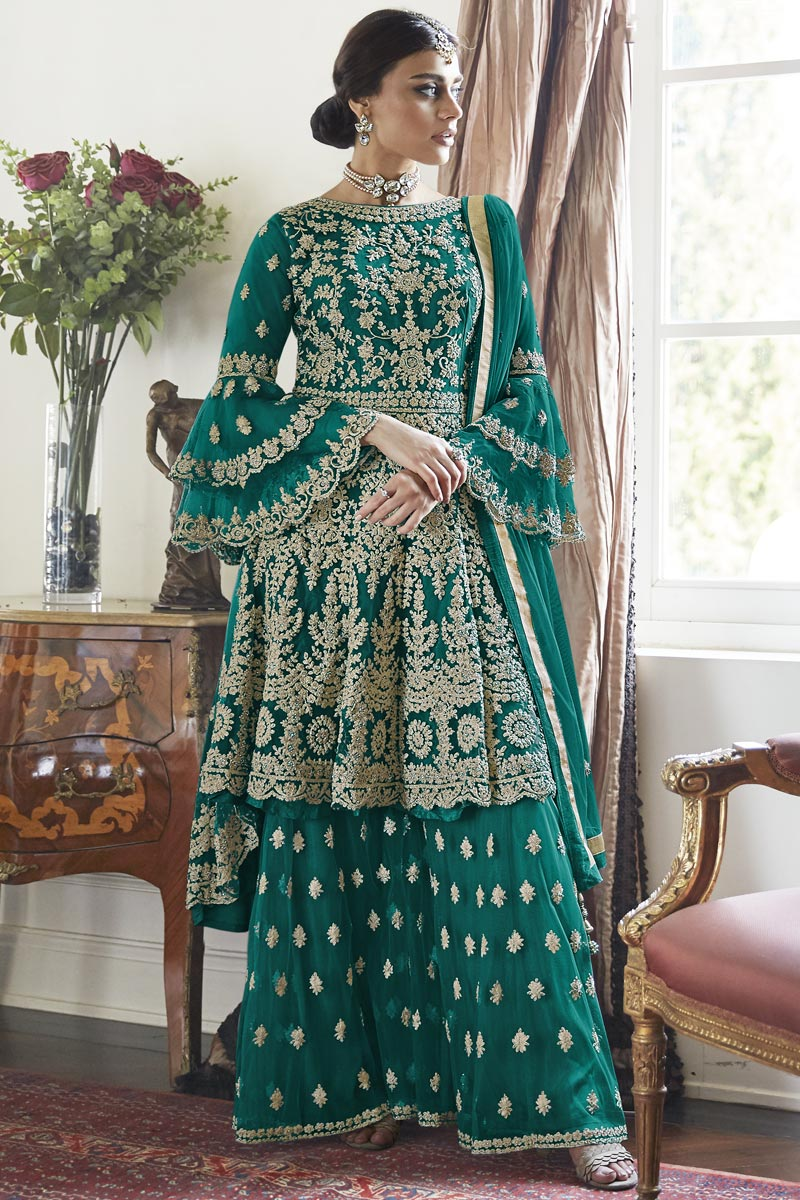 Trendy Function Wear Net Fabric Teal Color Embroidered Sharara Suit