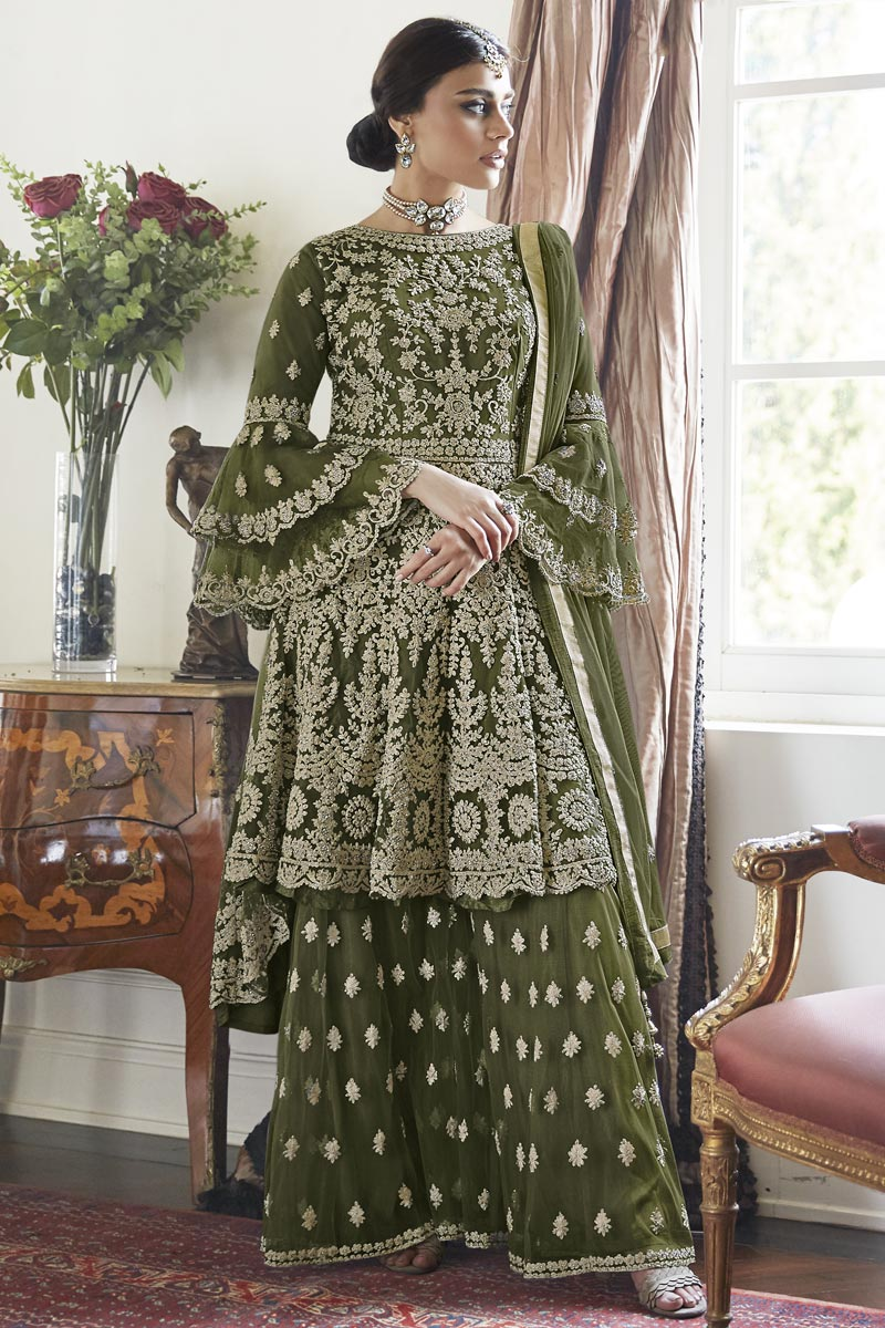 Festive Special Trendy Mehendi Green Color Function Wear Embroidered Net Fabric Sharara Suit