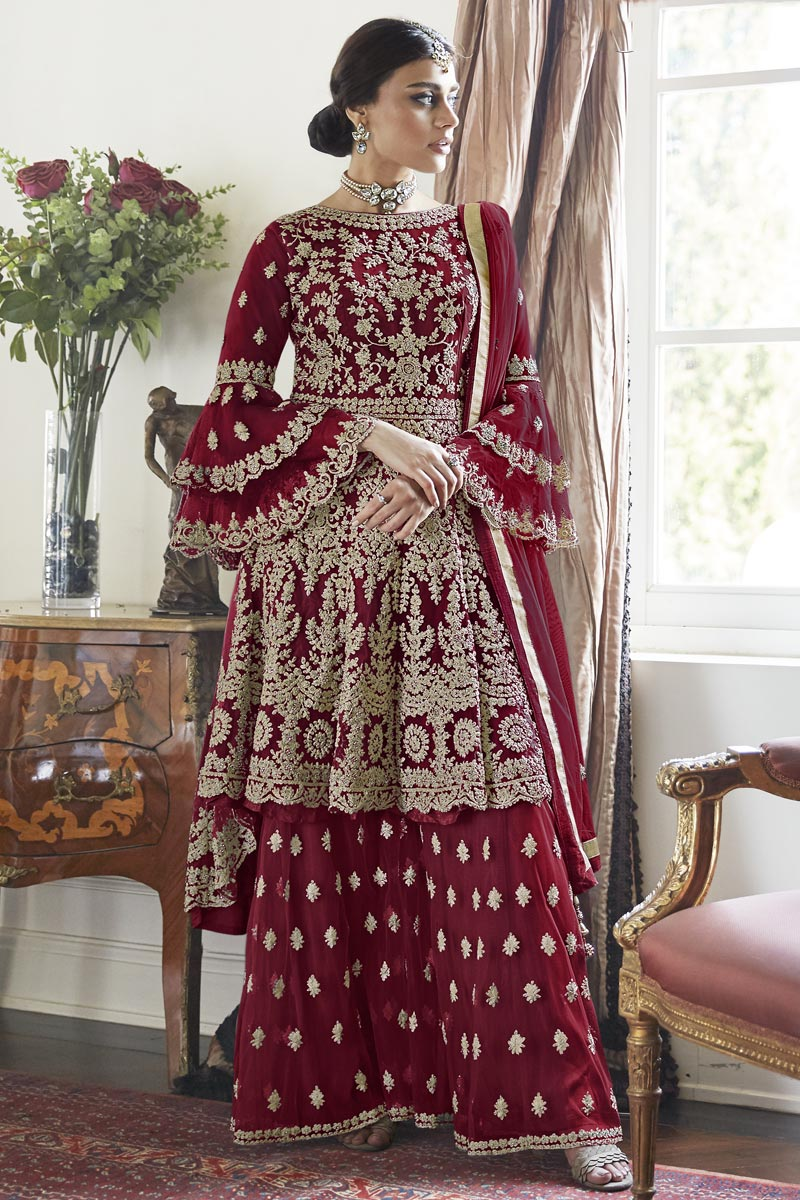 Maroon Color Function Wear Trendy Embroidered Net Fabric Sharara Dress