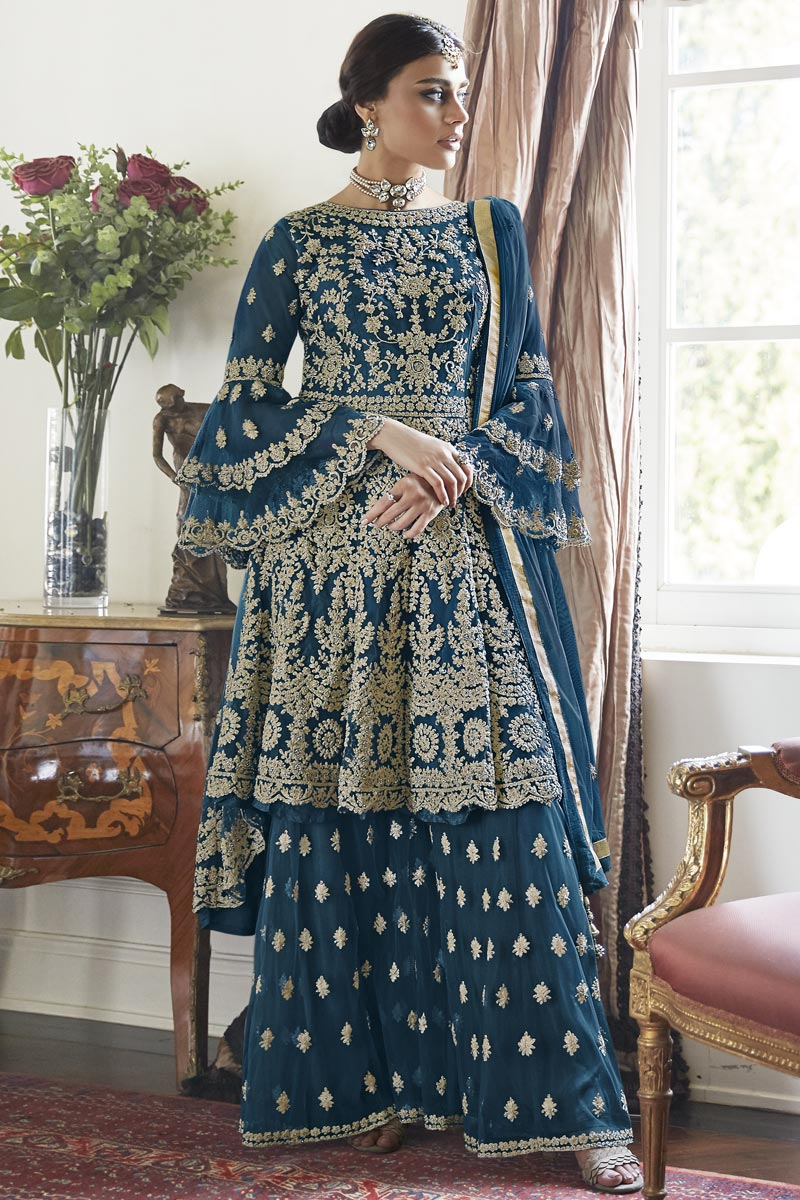 Trendy Net Fabric Function Wear Navy Blue Color Embroidered Sharara Suit