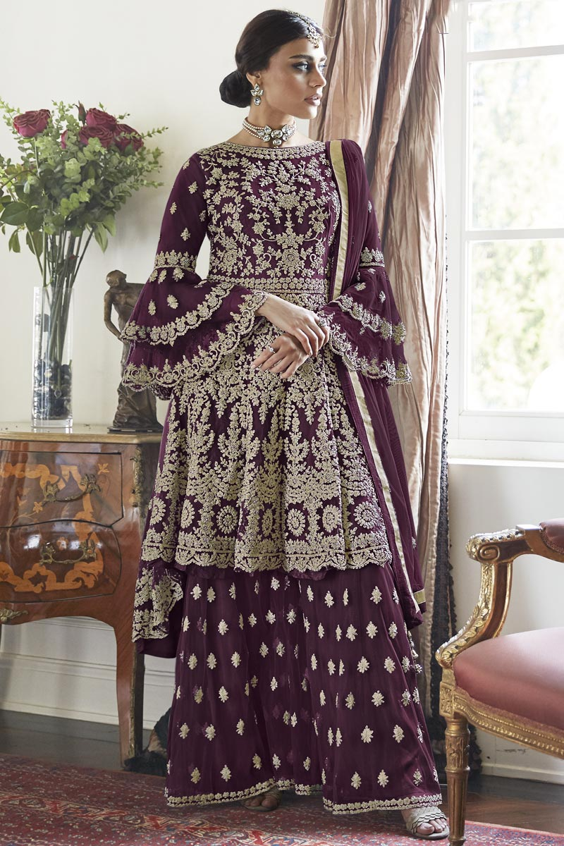 Wine Color Net Fabric Function Wear Trendy Embroidered Sharara Dress