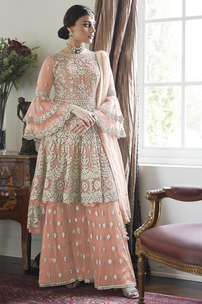 Designer Sangeet Function Wear Net Fabric Embroidered Sharara Dress In Peach