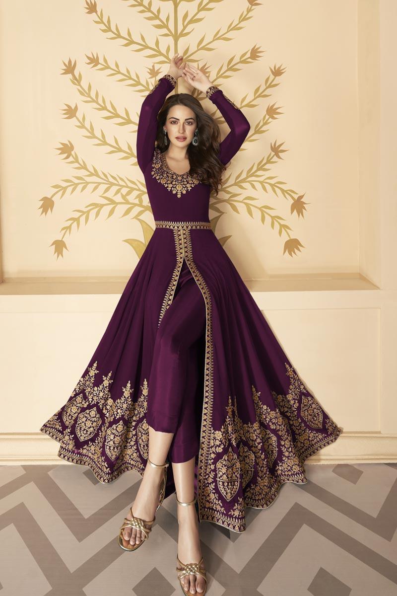 Purple Color Georgette Fabric Embroidery Work Function Wear Fancy Anarkali Dress