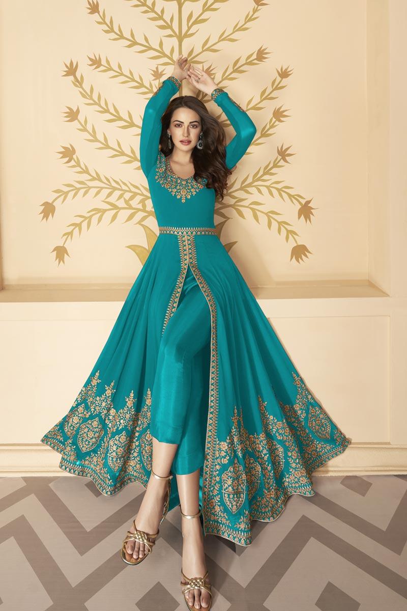 Georgette Fabric Embroidery Work Festive Wear Trendy Anarkali Dress In Cyan Color