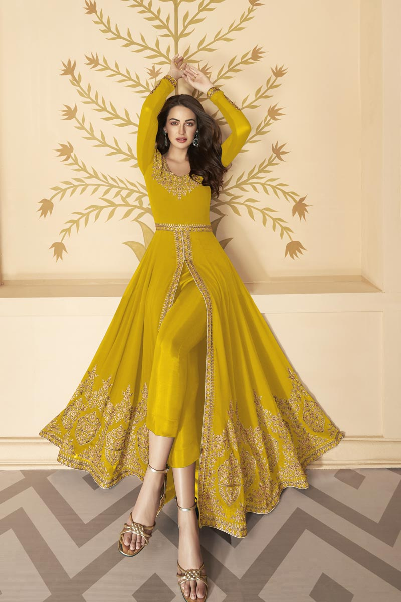 Yellow Color Georgette Fabric Embroidery Work Function Wear Fancy Anarkali Dress