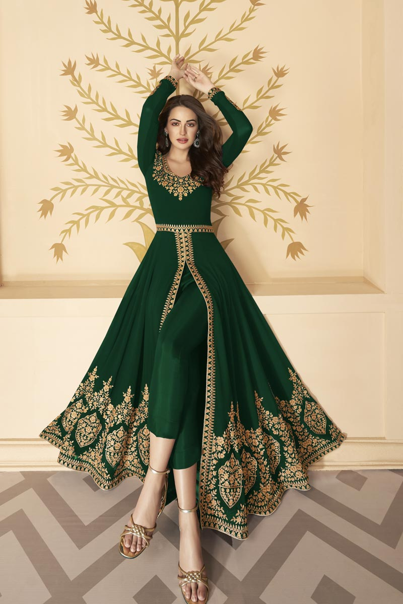 Georgette Fabric Embroidery Work Wedding Wear Designer Anarkali Dress In Dark Green Color
