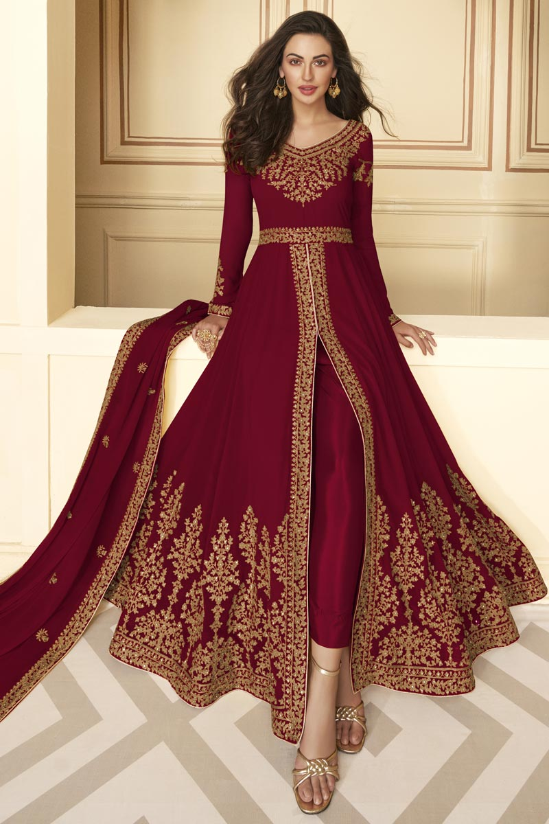 Georgette Fabric Function Wear Maroon Color Embroidered Long Length Anarkali Suit