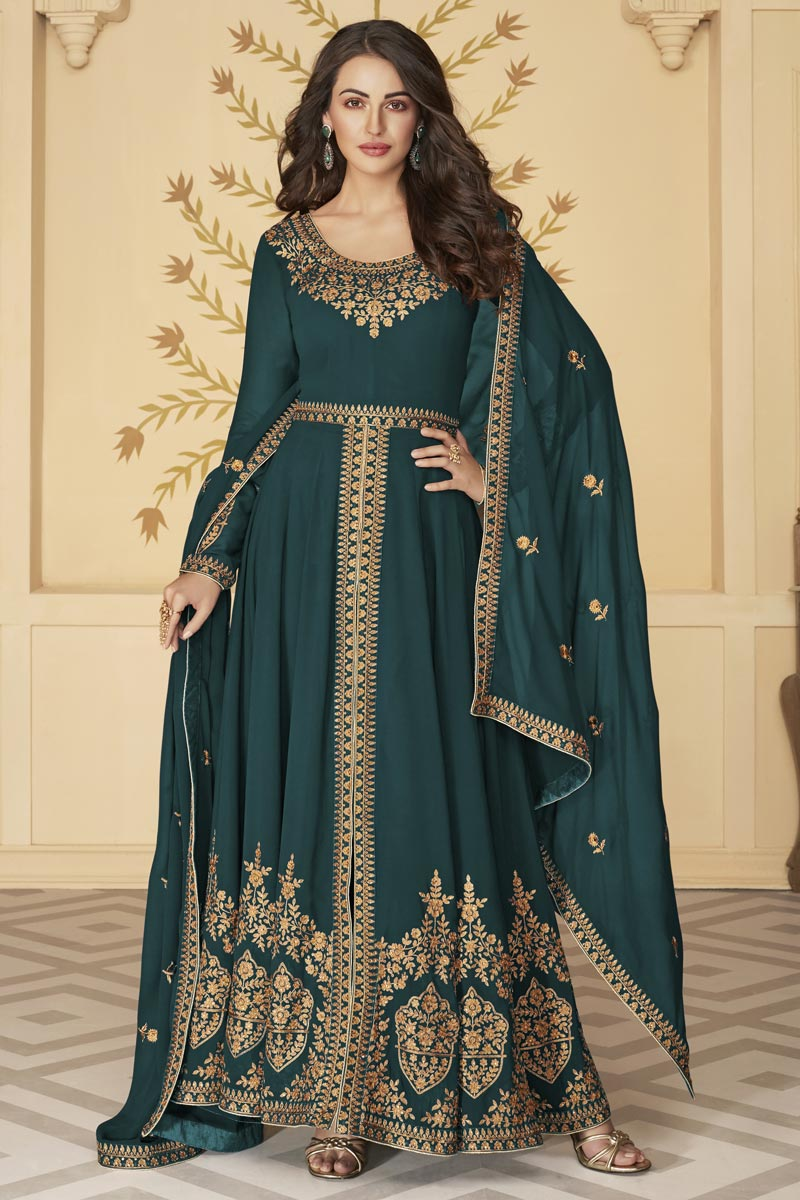 Function Wear Embroidered Teal Color Floor Length Anarkali Dress In Georgette Fabric