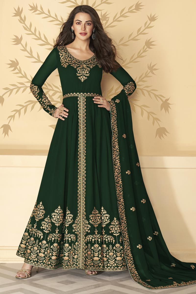 Georgette Fabric Function Wear Dark Green Color Long Length Embroidered Anarkali Suit