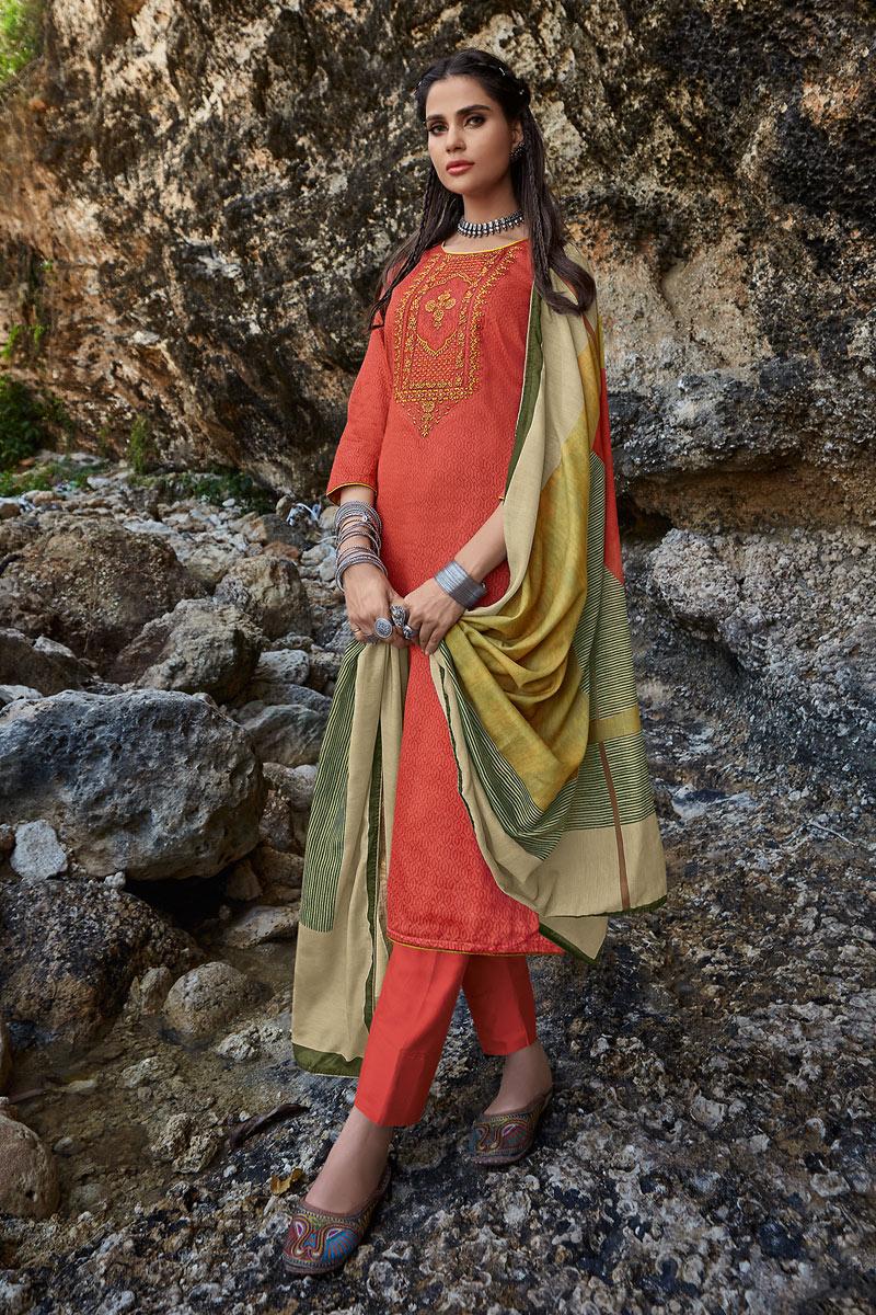 Fancy Fabric Designer Salwar Kameez In Orange Color With Embroidery Designs