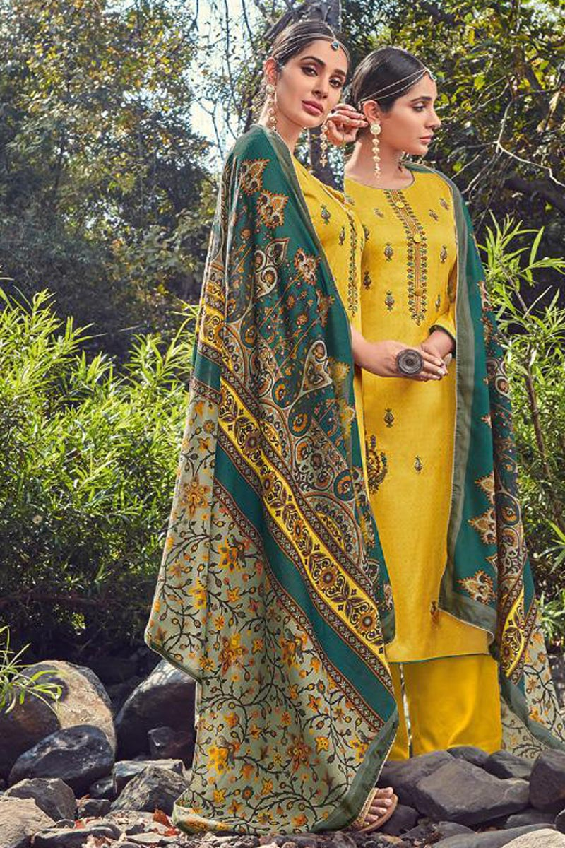 Festive Wear Yellow Color Fancy Cotton Fabric Palazzo Suit