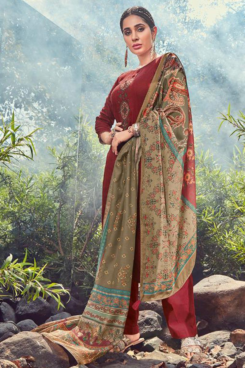 Festive Wear Maroon Color Fancy Palazzo Suit In Cotton Fabric