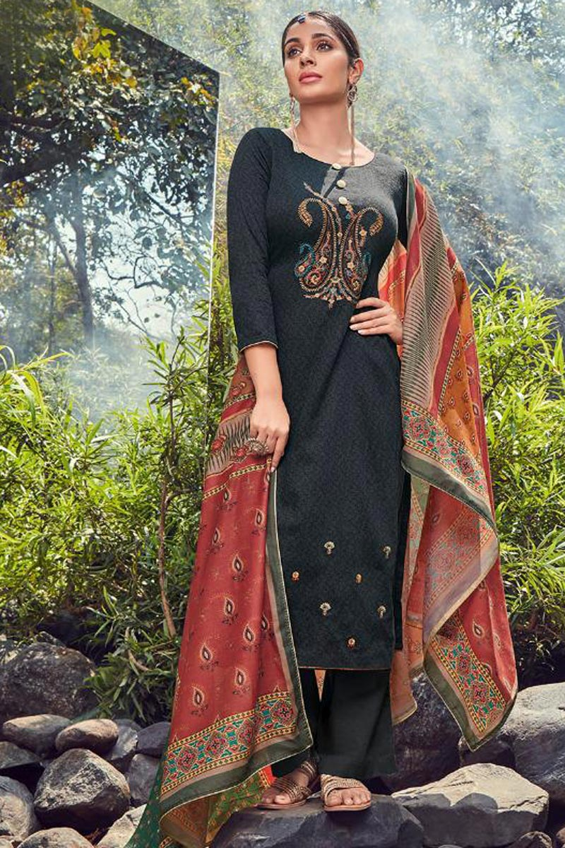 Fancy Black Color Festive Wear Cotton Fabric Palazzo Dress