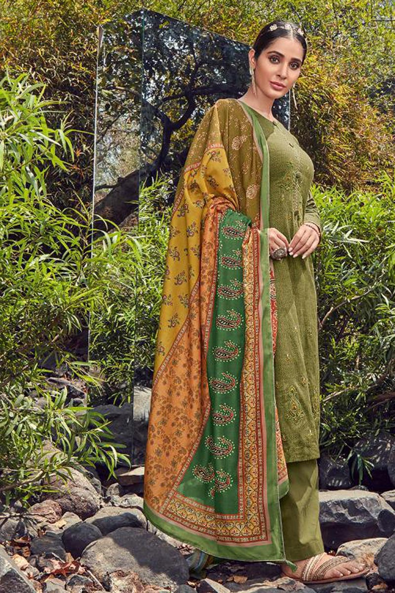 Festive Wear Cotton Fabric Fancy Mehendi Green Color Palazzo Suit