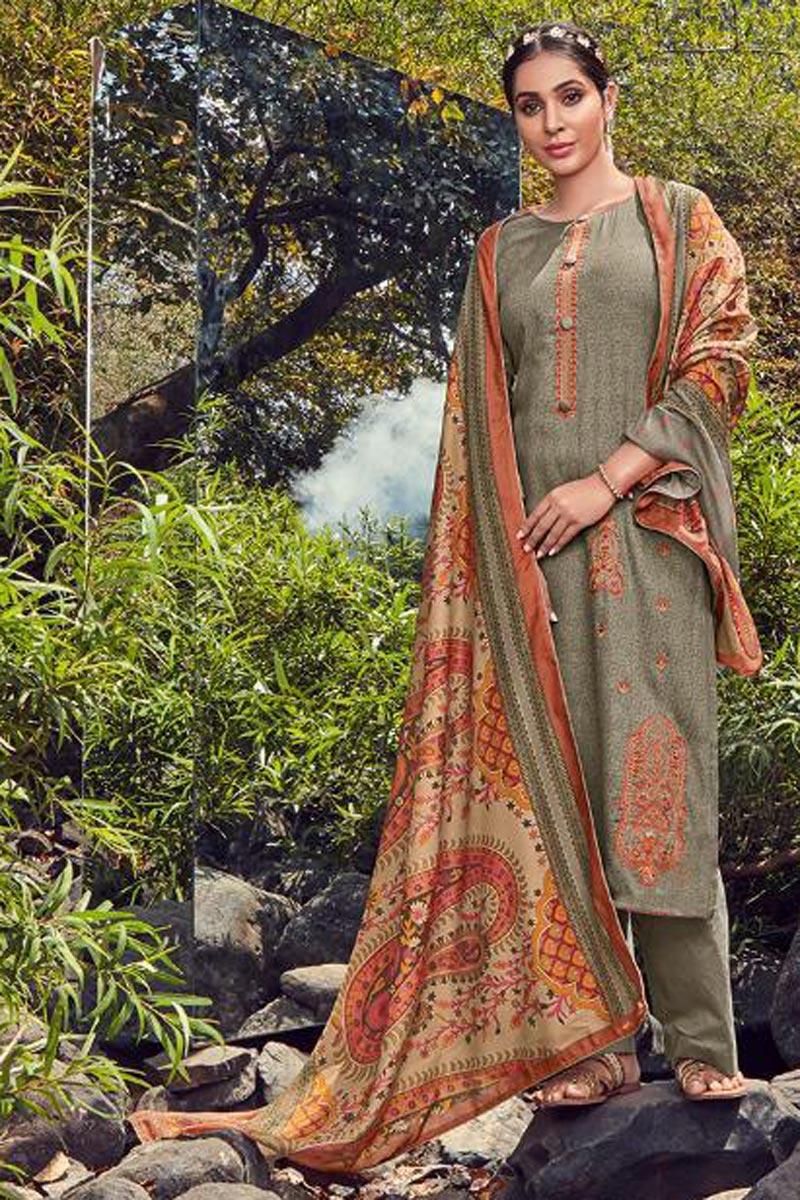 Dark Beige Color Fancy Cotton Fabric Festive Wear Palazzo Dress