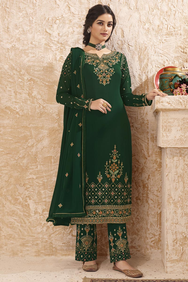 Dark Green Color Party Style Elegant Embroidered Georgette Fabric Straight Cut Suit