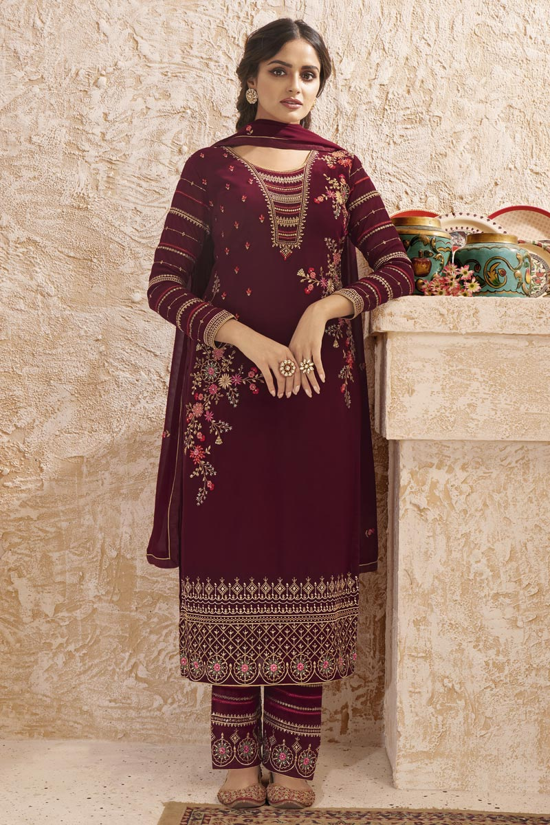 Maroon Color Party Style Elegant Embroidered Georgette Fabric Straight Cut Dress