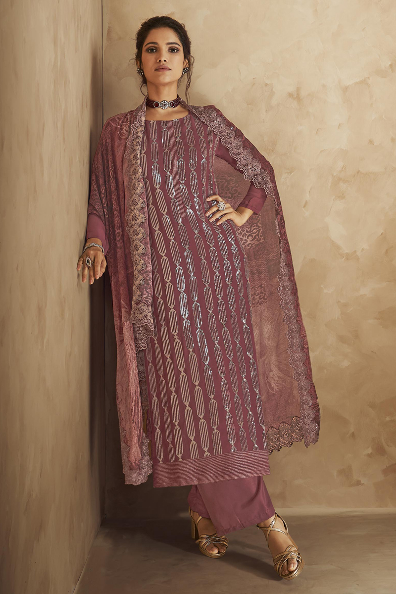 Pink Color Festive Wear Embroidered Georgette Fabric Palazzo Salwar Kameez