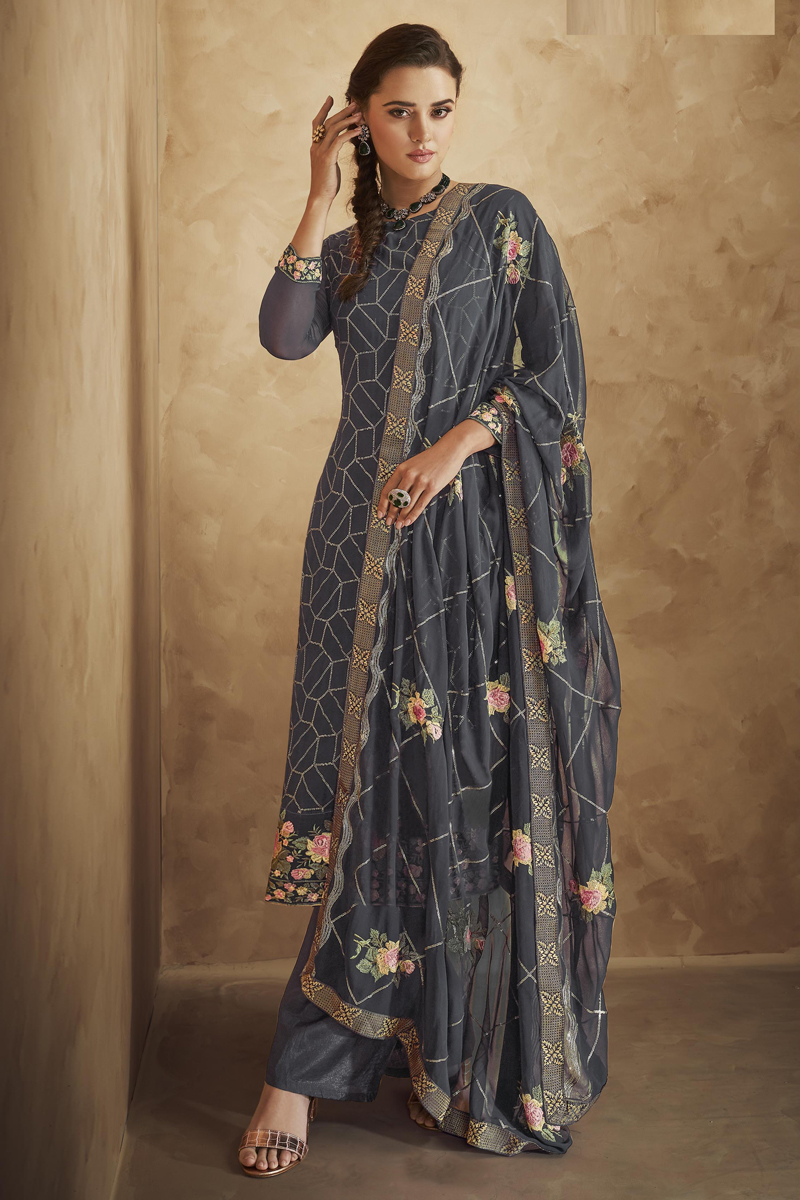 Georgette Fabric Party Wear Grey Color Embroidered Palazzo Salwar Suit