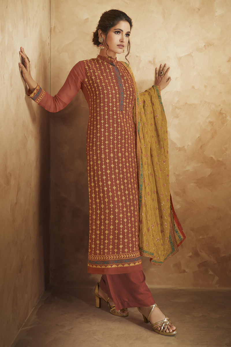 Rust Color Georgette Fabric Function Wear Embroidered Palazzo Salwar Kameez