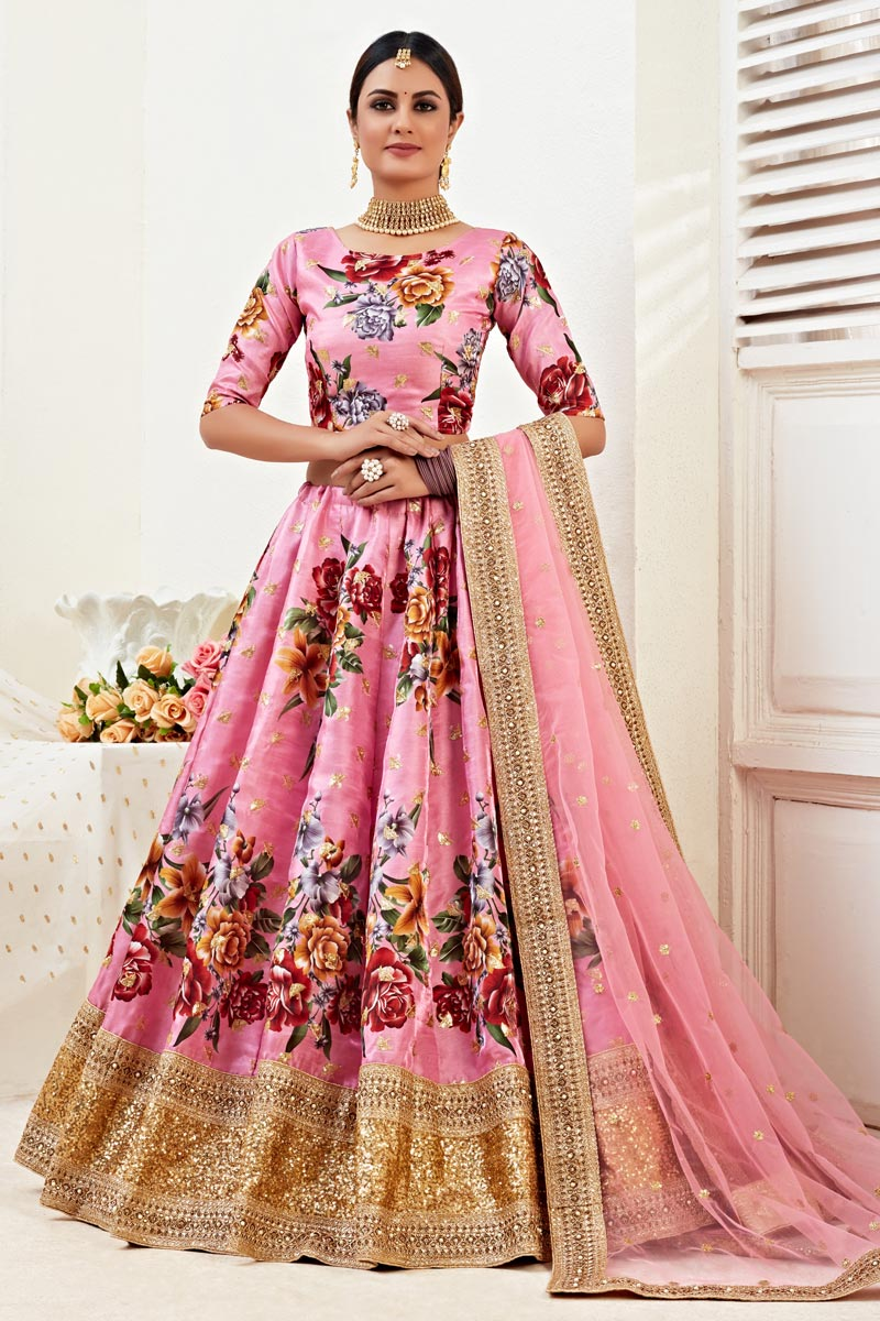 Satin Silk Fabric Sangeet Wear Pink Color Printed Lehenga Choli
