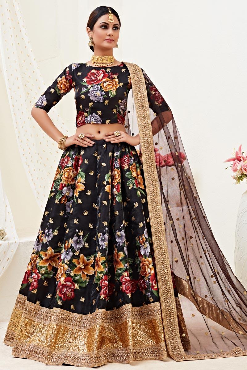 Satin Silk Fabric Sangeet Wear Black Color Printed Lehenga