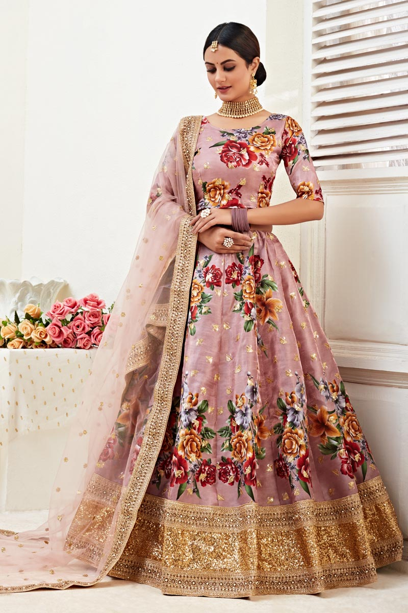 Sangeet Wear Peach Color Printed Satin Silk Fabric Lehenga Choli