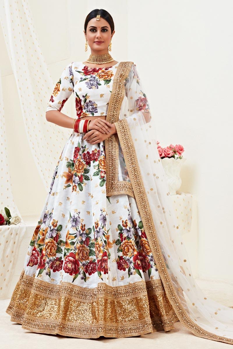 White Color Sangeet Wear Printed Satin Silk Fabric Lehenga