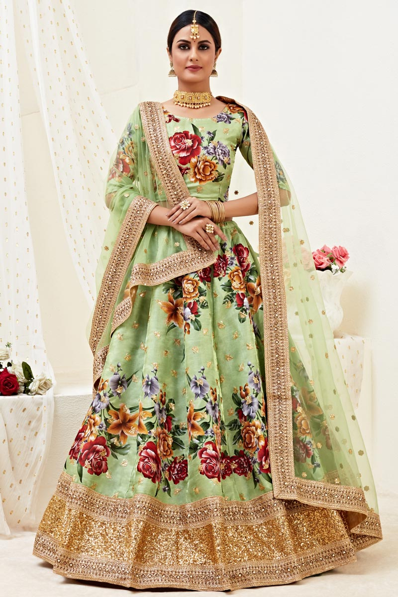 Sangeet Wear Satin Silk Fabric Sea Green Color Printed Lehenga Choli