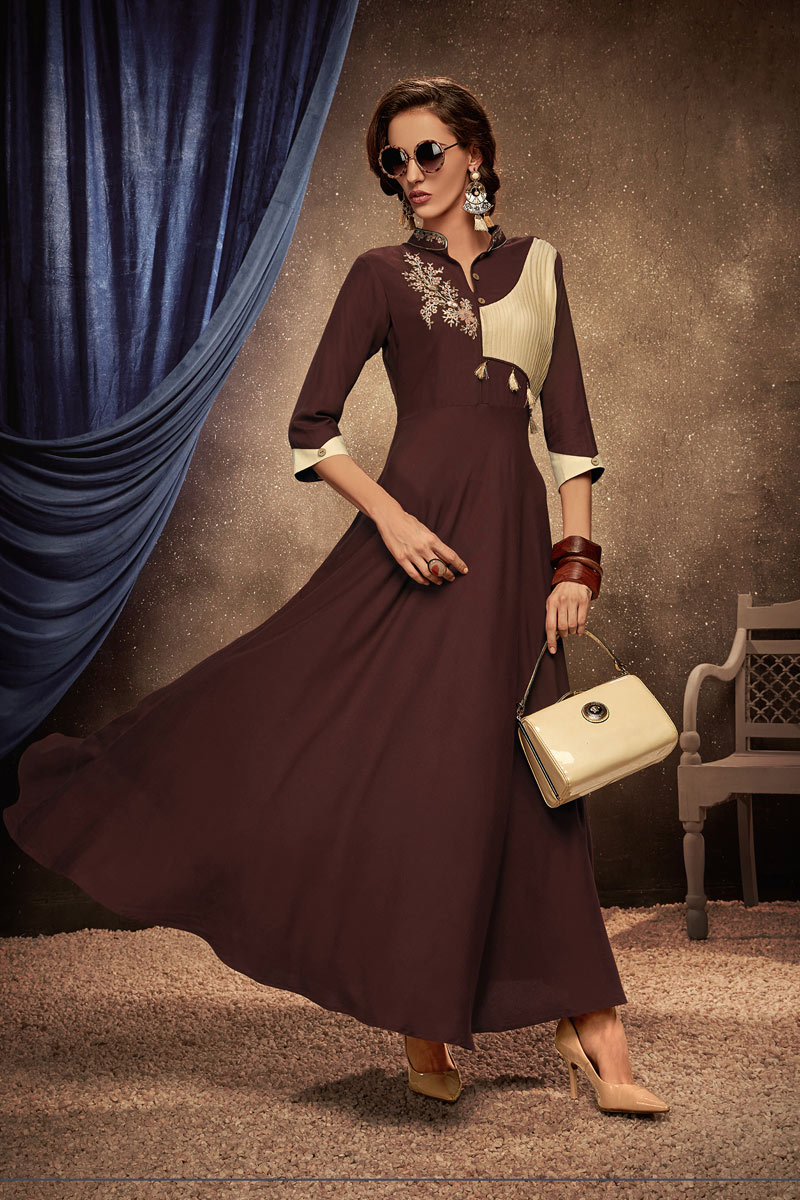 Brown Color Party Wear Rayon Fabric Embroidered Kurti