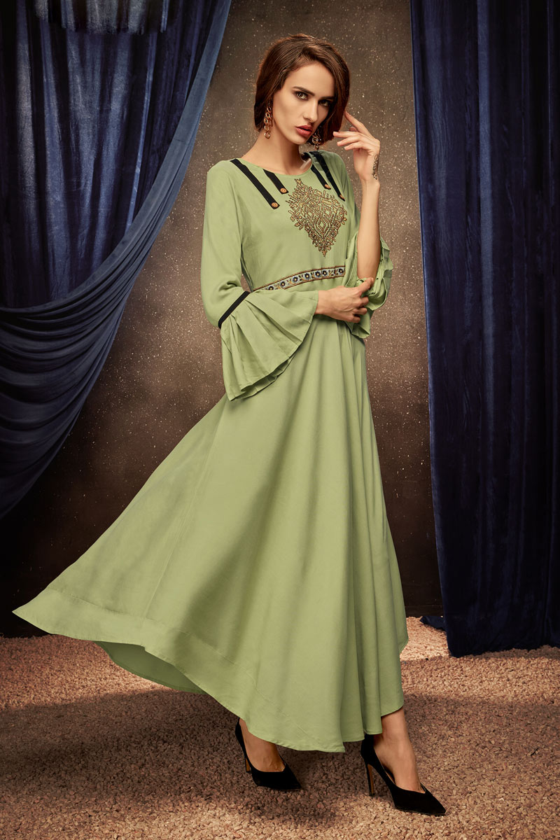 Green Color Party Wear Embroidered Kurti