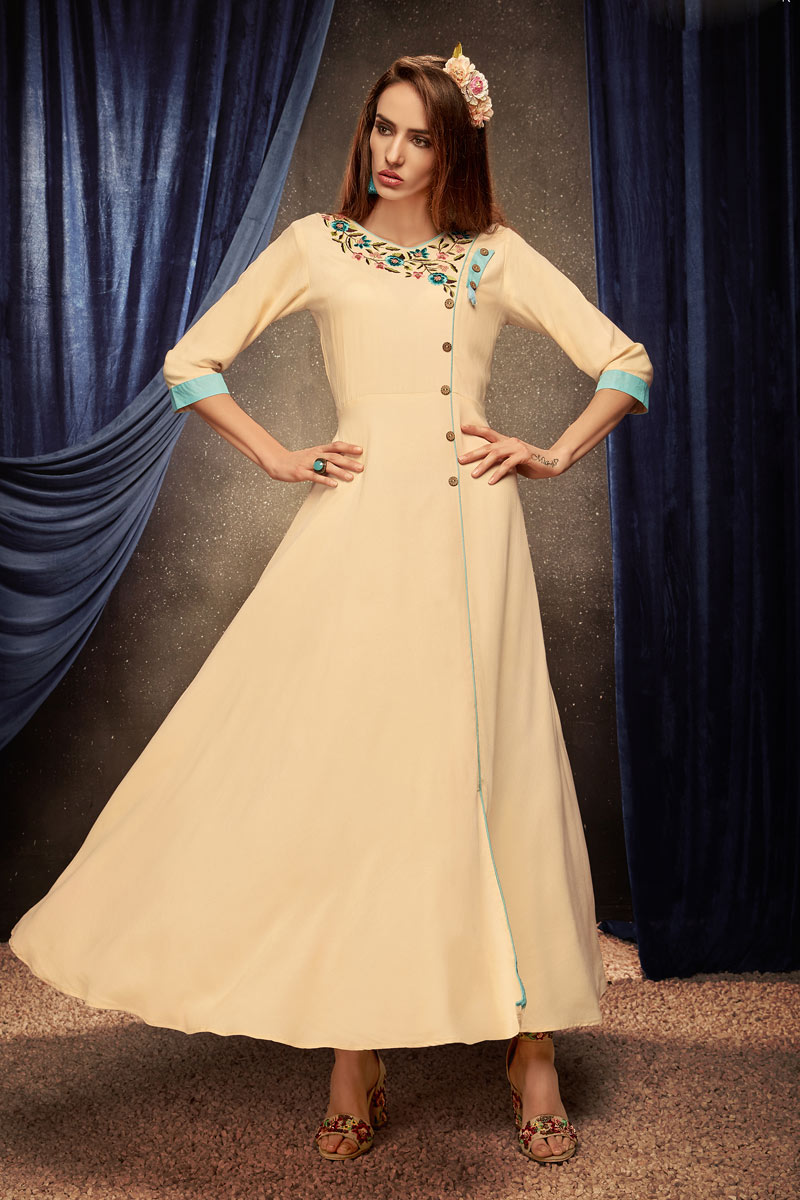 Cream Color Embroidered Rayon Fabric Party Wear Kurti