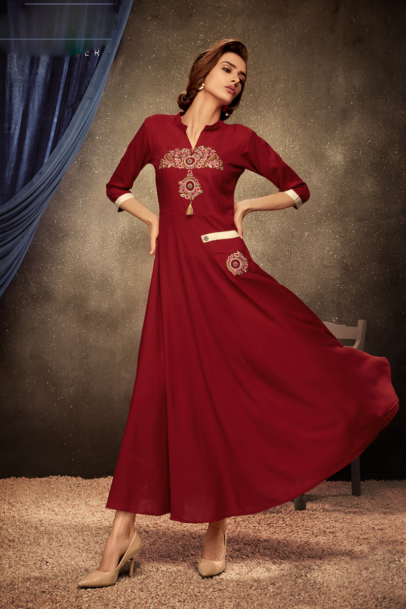 Red Color Embroidered Rayon Fabric Party Wear Kurti