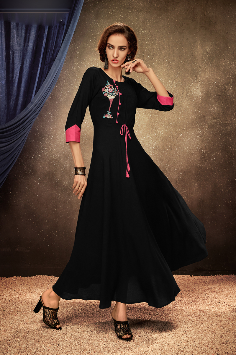 Black Color Party Wear Embroidered Kurti